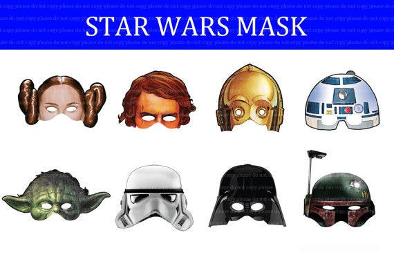 instant dl star wars mask birthday party printable - Masque Star Wars Fabriquer