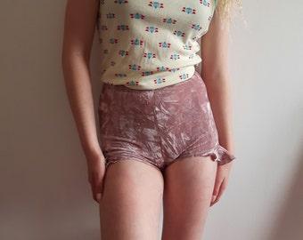 Pink crush frilled velvet shorts xxs to xl