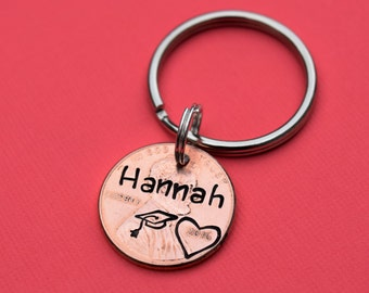 Personalized graduation penny keychain   Class of 2018 gifts   Gifts for graduates   Custom graduation keychain   Graduation gifts for guys