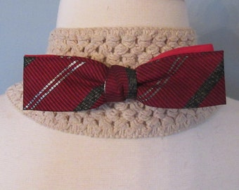 Vintage Red Striped Bowtie