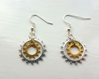 Steampunk Sun Cog Earrings — Silver and Gold Colour FREE POSTAGE to UK