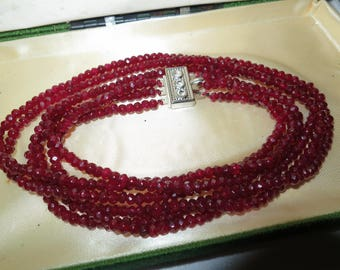 Lovely 3 strand faceted 5mm raw Brazilian Ruby necklace 18""