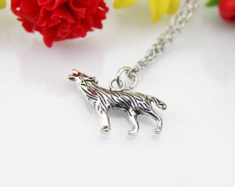 Wolf Necklace, Wolf Charm, Animal Charm, Teen Gift, Wolves Charm Necklace, Personalized Gift, Inspirational Necklace, Inspirational Gift