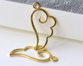 Gold Angel Wing Frame Charms 14x27mm Set of 20 A8085