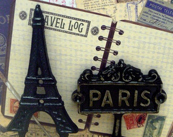Eiffel Tower Paris Cast Iron Pair Wall Hooks Black French Shabby Chic Home Decor