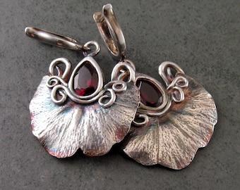 Garnet gingko leaf earrings, handmade eco friendly fine silver Art Nouveau earrings-OOAK January birthstone