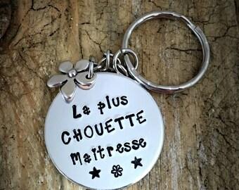 Hand Stamped French Keyring, Keychain French Teacher, Custom French Keychain