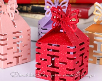 Double Happiness Wedding Favor Box with Butterfly Closure (Qty 100) [B17]
