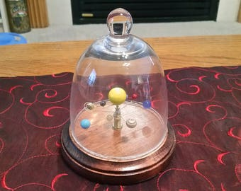 Medium Solar System - Mechanical Orrery (with Glass Dome) - Red Mahogany