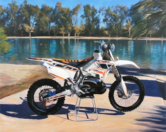 Motorcycle Art Custom Painting from Your Photo - Personalized Portrait Awesome Gift Idea