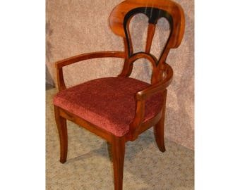 Solid Mahogany Two Tone Biedermeier Style Accent Chair