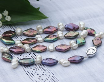 Pearl necklace pearl jewelry rhombs double pearls twin pearls freshwater pearl white brown chocolate