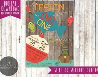 The Big One Fishing Birthday, Big One Fishing Invitation, Fishing First Birthday, Fisherman Birthday Invite, Photo - Printable DIY