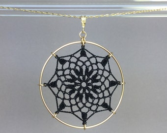 Mandala doily necklace, black silk thread, 14K gold-filled