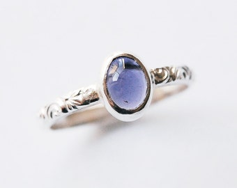 Silver Iolite Ring with Cabochon Size 5 3/4