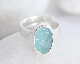 Aquamarine Natural Gemstone Adjustable Handmade Ladies Sterling Silver Ring