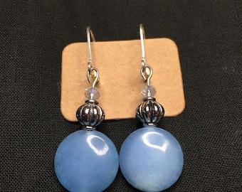 Blue glass bead with silvertone earrings