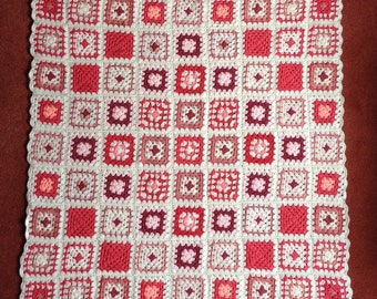 Crocheted Throw or Lap Blanket.  Shades of Pink and White