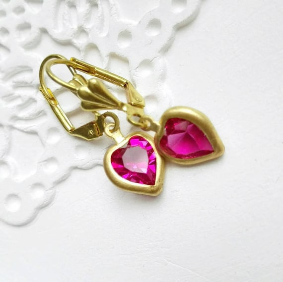 Heart earring dangles wedding crystal heart earrings Gift for her dangling pink Swarovski crystal jewelry earrings gold crystal