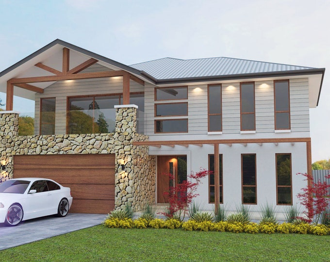 302 m2 | 4 Bed + Study Nook + 3 Living Areas | 2 Storey design balcony | plans Butler's Pantry | 2 story design | small land 2 storey plans