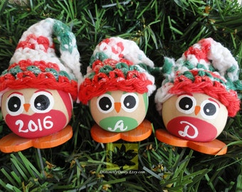 Red Green Owl Christmas Tree Ornament - Personalized Handpainted Wooden Holiday Decoration - Hand-crocheted Hat By Distinctly Daisy