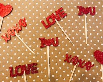 Valentine's Day Cupcake Toppers, Happy Valentine's Day, Hearts, Valentines Decor,  Cake Toppers, Be Mine, Galentines, Food Picks, Love,xoxo
