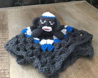 Crochet Sock Monkey Baby Holdable Security Blanket