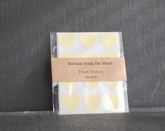 36 Pastel Yellow Mini Heart Seals / Stickers -