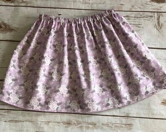 Girls Handmade Floral Skirt - Lavender Skirt -  Spring Summer Skirt - 100% Cotton Skirt - Newborn to 10/12 girls