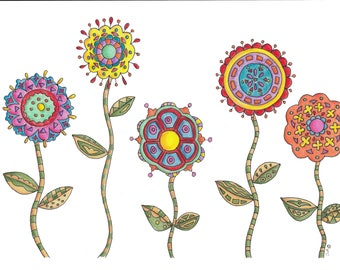 Bohemian Bouquet-Original Artwork Print