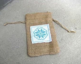 Burlap Sachet, Cross Stitched Burlap Bag, Gift Bag