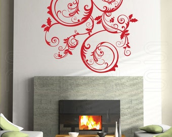 Wall decals CHRISTMAS SWIRLS Holiday interior decor surface graphics by Decals Murals