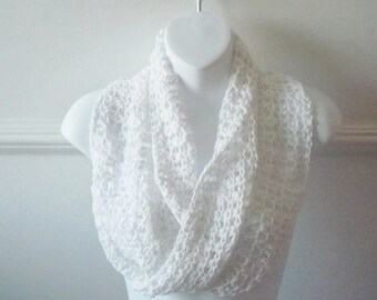Mobius Cowl in White Cotton Scarf Accessories Woman
