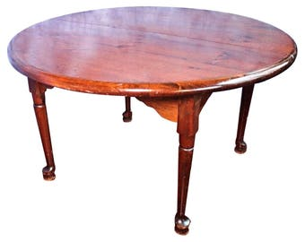 Early Antique Queen Anne Style Round Dining Table 2 Leaves Extension Side Center