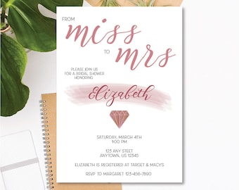 Printable Bridal Shower Invitation - Miss to Mrs - Rose Gold - Customizable Text - 5x7 .JPEG Digital Download