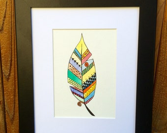 """Original Watercolor and Ink, """"Feather"""" 5 by 7"""