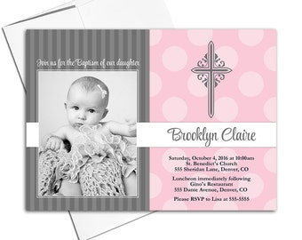 Baby girl Christening invitations | gray and pink baptism invites | printable or printed - WLP00202