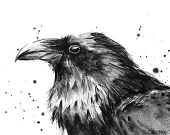 Raven Watercolor Art Print, Black Bird Painting, Animal Decor, Raven Art, Dark Portrait
