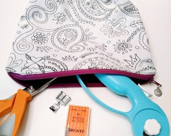 Paisley Cosmetics Bag - Floral Zippered Pouch - Paisley Purse Organizer - Coloring Book