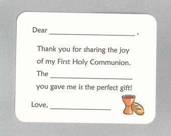 First Holy Communion Thank You Cards - Fill in the Blank Cards, First Communion Cards, First Communion Thank Yous, Catholic Thank You Cards