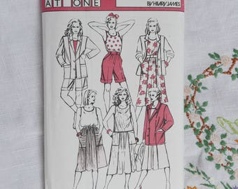 Vintage sewing pattern, Sew Easy Pattern G by Hilary James, Jacket, skirt, shorts, pull on top, 1986, size 8 to 18, uncut