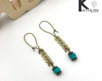 Bronze and green earrings