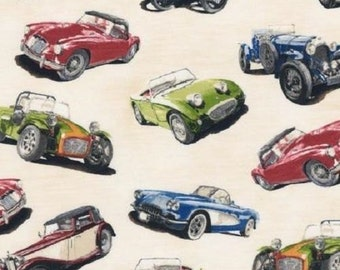 Vintage Car Fabric / Classic Cruisers on Cream - Antique Car Fabric Robert Kaufman 14440 199 Car Fabric  / Fat Quarters and By The Yard