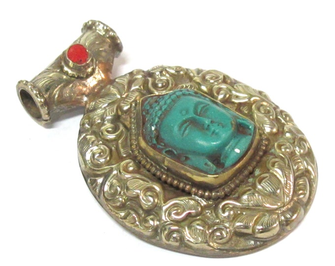 1 Pendant - Large Tibetan antiqued silver color green Buddha pendant with Lotus flower carving  - PM336H