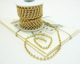 Gold Rhinestone Chain, Clear Crystal, (4mm / 1 Foot Qty)