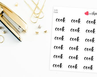 Cook Script | cooking stickers, chef sticker, script stickers, chores sticker, mom stickers - Hand Drawn, Hand Lettered Planner Stickers