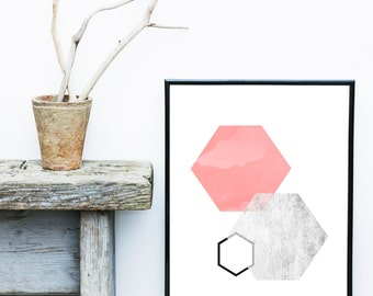 Hexagon Wall Art, Geometric Abstract, Printable Art, Geometric Art, Geometric Wall Art,  Wall Decor, Abstract Art Print, Instant Download