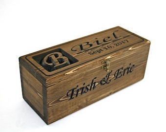 Personalized Wine Bottle Box,Wedding wine box, anniversary gift, wedding shower gift, First Fight Box, Wedding Capsule, Time Capsule(CWD-41)