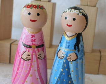 "Princess Peg Doll Choose One Pink or Blue - Large 3.5"" size"