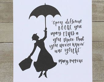 Mary Poppins Quote Open Different Doors Wall Art | Hand Lettered,  Calligraphy, Disney